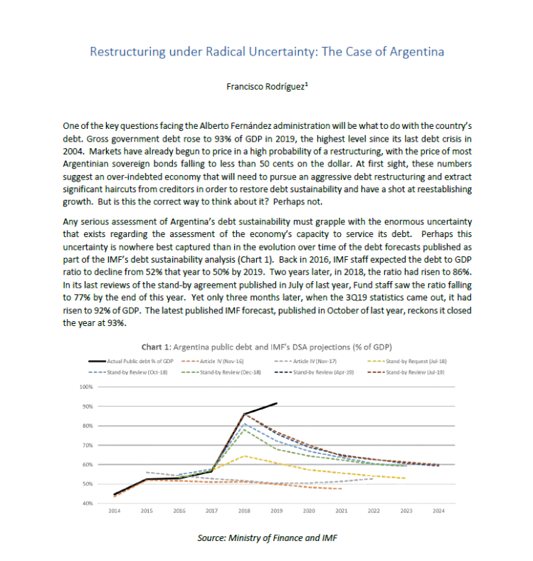 Reestructuring under Radical Uncertainty: The Case of Argentina
